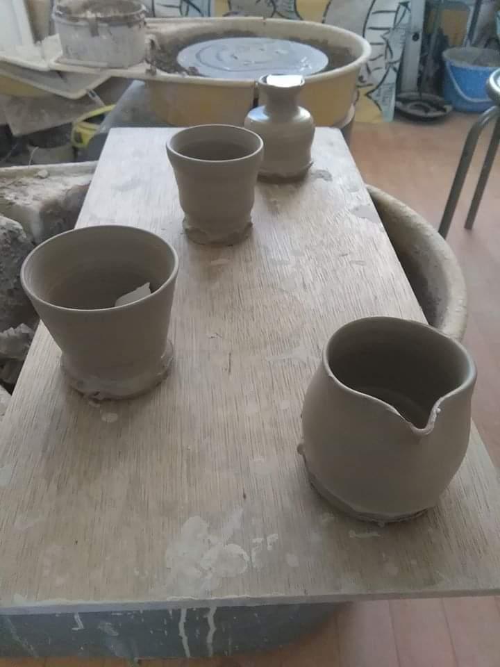 今日の電動ろくろ陶芸体験作品
